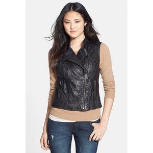 Halogen crinkled leather vest